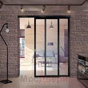 Раздвижная алюминиевая перегородка Loft Standart 201U Черная стекло Lacobel прозрачное