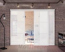 Раздвижная алюминиевая перегородка Loft Standart 304U Белая стекло Lacobel Белый