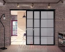 Раздвижная алюминиевая перегородка Loft Standart 305K Черная стекло Lacobel Графит