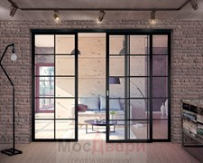 Раздвижная алюминиевая перегородка Loft Standart 309U Черная стекло Lacobel прозрачное