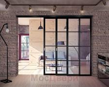 Раздвижная алюминиевая перегородка Loft Standart 308K Черная стекло Lacobel прозрачное