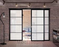 Раздвижная алюминиевая перегородка Loft Standart 305U Черная стекло Lacobel Белый