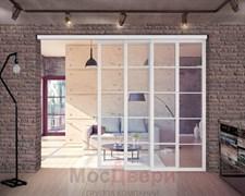 Раздвижная алюминиевая перегородка Loft Standart 306K Белая стекло Lacobel прозрачное