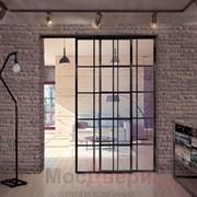 Раздвижная алюминиевая перегородка Loft Classica 210U Черная стекло Lacobel прозрачное