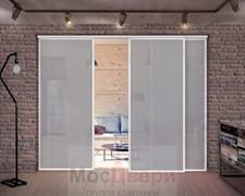 Раздвижная алюминиевая перегородка Loft Classica 301U Белая стекло Lacobel Графит