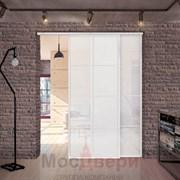 Раздвижная алюминиевая перегородка Loft Classica 208U Белая стекло Lacobel Белый
